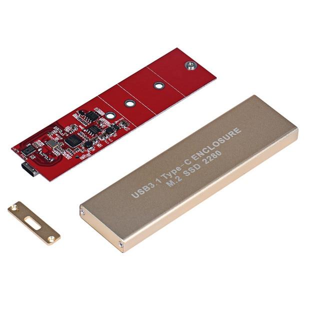 Mecall 80MM USB-C USB 3.1 Type C To M.2 NGFF PCI-E 2 Lane SSD Enclosure For E431 E531