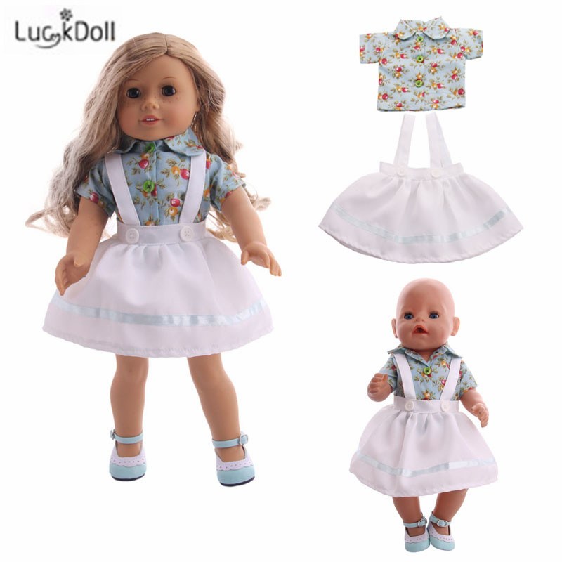 LUCKDOLL High Quality Printed Skirt Fit 18 Inch American 43cm Baby Doll Clothes Accessories,Girls Toys,Generation,Birthday Gift