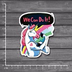 We can do it! Waterproof PVC Laptop Notebook Skin Stationery Sticker Home decor jdm Decal For kid Toy Suitcase Stickers[single]