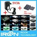 AC/DC Adapter + Disipador de Calor + Shell Funda Carcasa caja Caja para Raspberry PI 3 Modelo B PI PI 3 B Ras Ras Ras PI3 B 3B