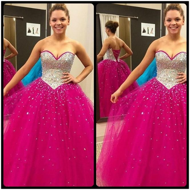 1e69e24817 Sparkly Fuchsia Quinceanera Dresses 2016 Ball Gowns Crystal Beaded  Sweetheart Tulle Sweet 16 Debutante Dress Vestidos De 15 Anos