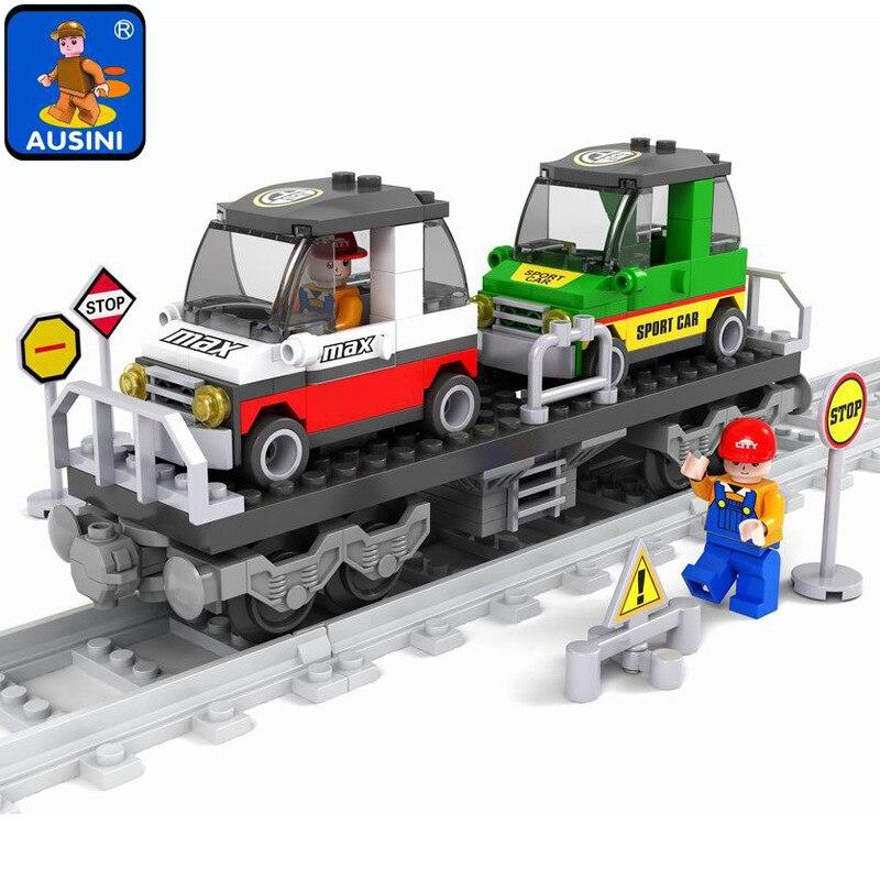купить Model building kits compatible with lego city Rail train 186 pcs 3D blocks Educational model building toys hobbies for children онлайн
