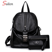 Saiten Women Backpacks Fashion Beautiful Hardware Women Leather Bags Large Capacity Backpack For Teenage Girls Package