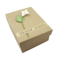2PCS Brown Carton Kraft Paper Box White Wedding Gift Handmade  Party Favor