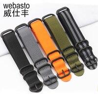 Webasto Men Watch Band For Rolex SEIKO Nylon Straps Width 20 22 24mm Buckle Watch Strap