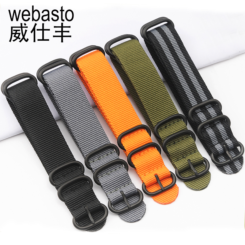 Webasto Men Watch Band For Rolex SEIKO Nylon Straps Width 20 22 24mm Buckle Watch Strap Watchbands Free Shipping