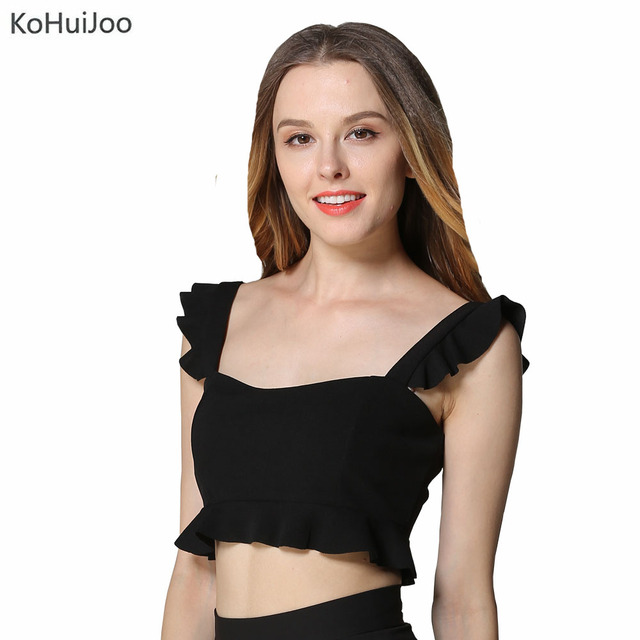 ebad4bb3a3d KoHuiJoo Summer Women Tank Tops Sexy Elegant Sleeveless Ruffles Tops Black  White Pink Spaghetti Strap Crop Top Camisole Casual
