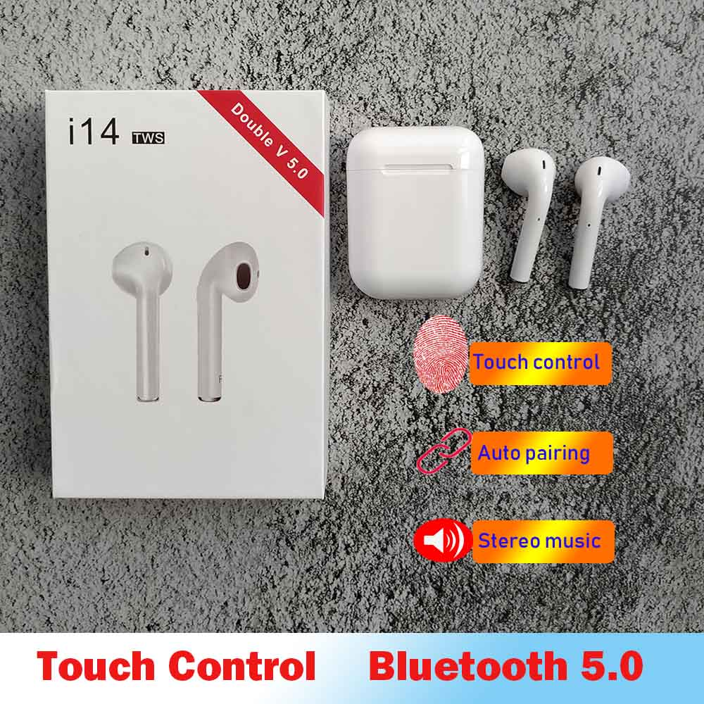 Original i14 TWS Touch Wireless Earphone Bluetooth Earphones 3D Stereo Earbuds PK i7s i13 i14 i10 TWS Earbuds for iPhone Android