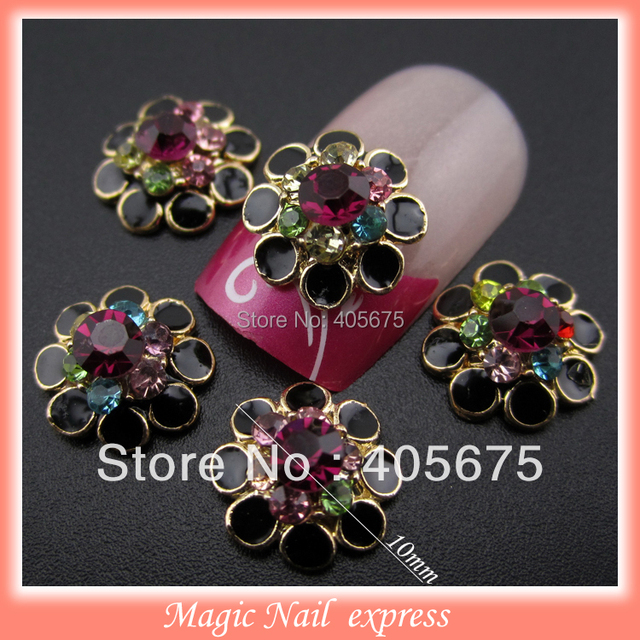 gold metal alloy black flower charms rhinestones for nails ...