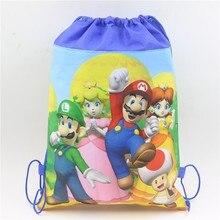 07a4e79b10 1 pcs/lot Bande Dessinée Mario thème Cordon sacs sac à dos pour garçon  enfant Cadeau Sac Enfants Faveurs Non-tissé Tissu Cordon .