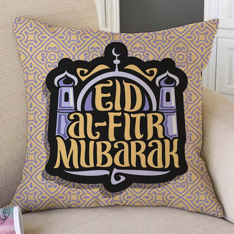 Islamic Letter Print Calligraphy Eid Mubarak Eid Al-fitr Muslim Style Decorative Pillow Case Cotton Linen Green Cushion Cover