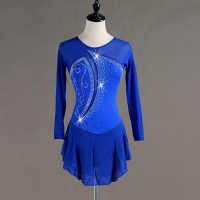 Figure Skating Dress Women Girls Royal Blue Biling Rhinestone Crystal Long Sleeve Figure Skating Competition Dress Stage B020