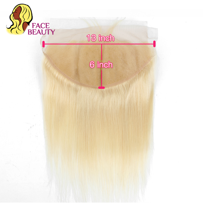 Facebeauty 13x6 Ear To Ear Lace Frontal Closure Ombre 1B/613 Blonde Remy Peruvian Straight Pre Plucked Frontal With Baby Hair
