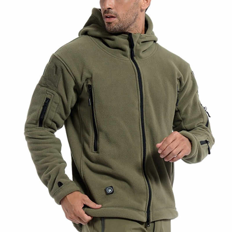 US Military Fleece Tactical Jacket Men Thermal Outdoors Polartec Warm Hooded Coat Militar Softshell Hike Outerwear Army Jackets