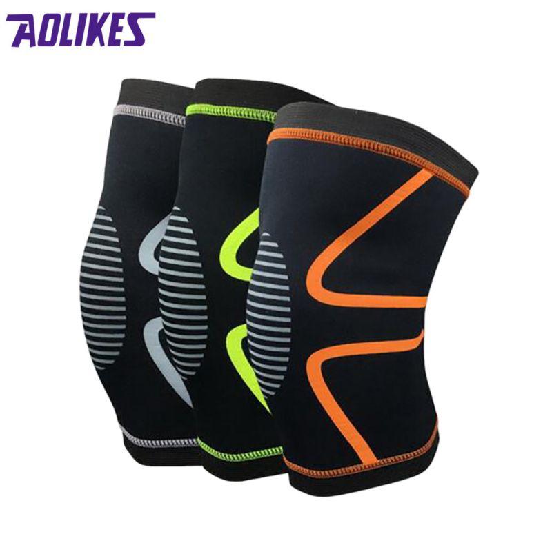 1 PC Elastic Basketball Volleyball Safety Knee Brace Pads Brace Knee Bracelet Adjustment Knee-Length