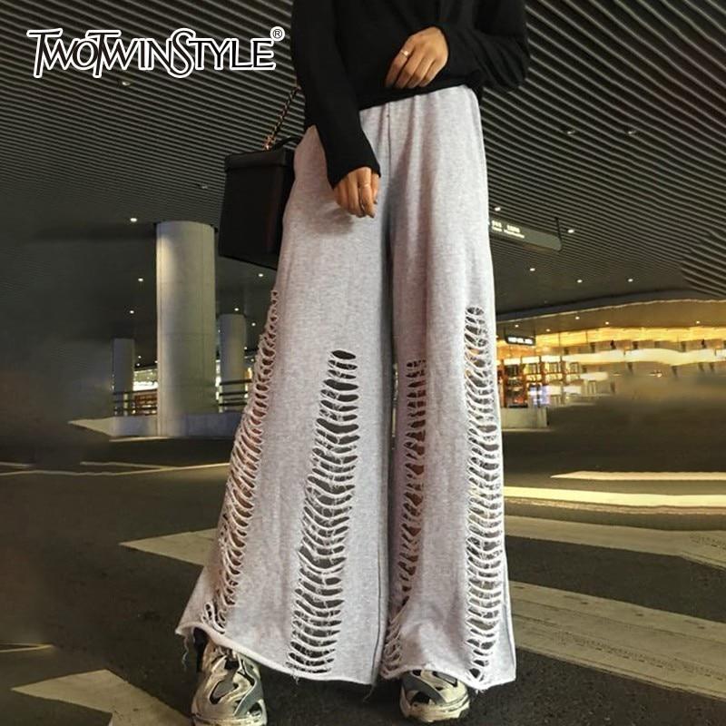 TWOTWINSTYLE Hole Wide Leg Pants Female Elastic Waist Oversize Maxi Pants Women Autumn 2018 Fashion Harajuku