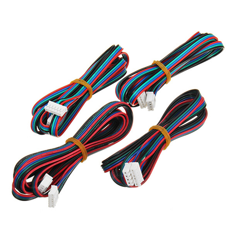 Free Shipping 4pcs 100cm/200cm 4pin To 6pin XH2.54 NEMA 17 Stepper Motor Cable DuPont Line For 42 Stepper Motor