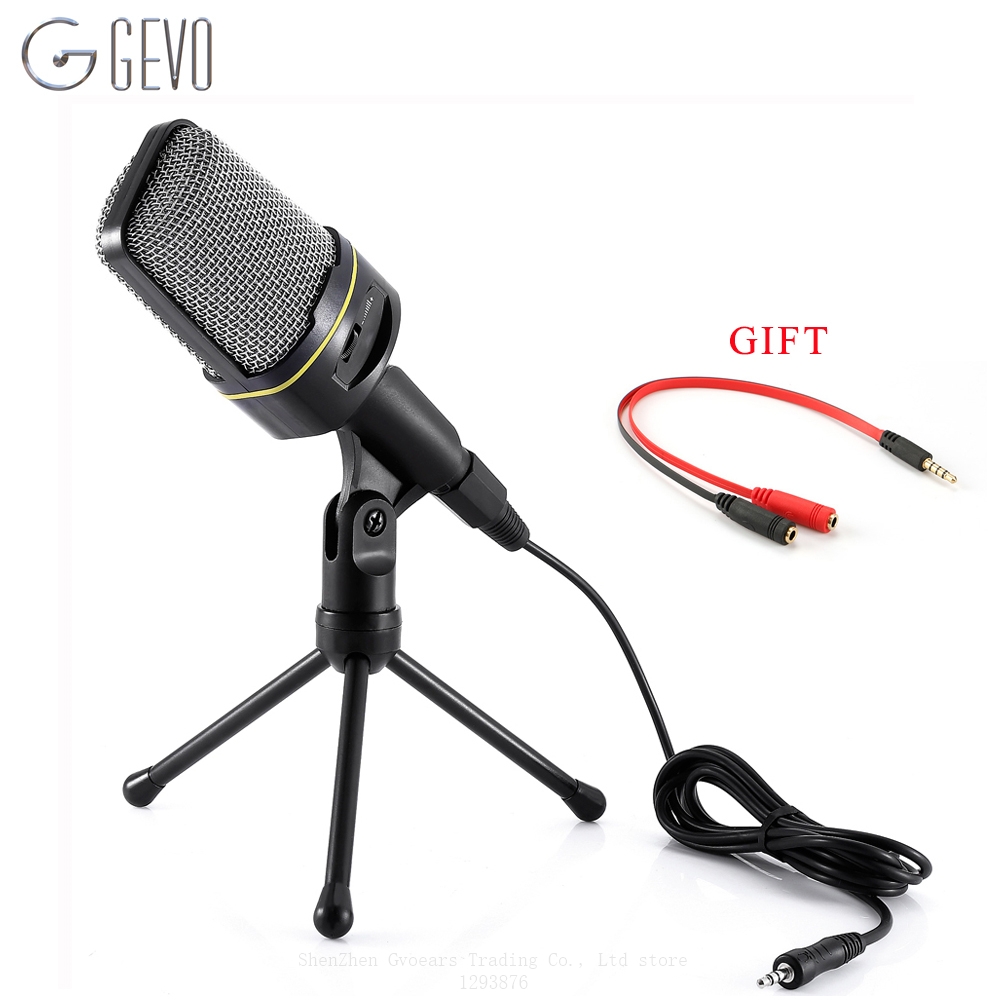 GEVO SF-920 Computer Microphone Pofessional 3.5mm Wired Handheld Microphone With Stand For Phone Recording Pc Chat MSN Skype gevo sf 910 microphone for phone 3 5mm cable wired with tripod stand pc mic for computer laptop karaoke studio desktop recording