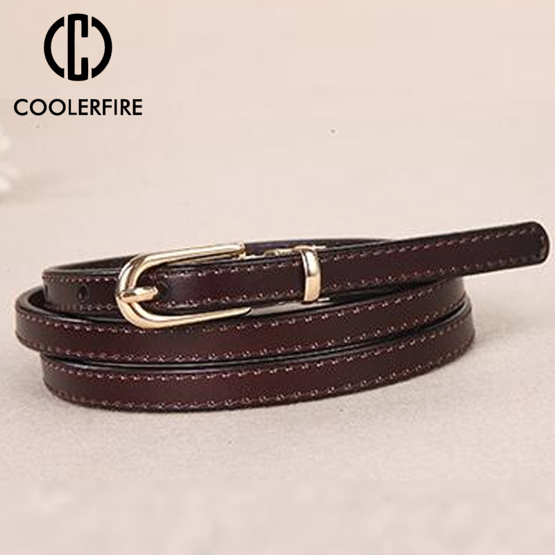 Candy Color Women Belt Thin Genuine Leather Belt Female Waist Belts For Women Dress Strap High Quality Thin Skinny Waist LB075