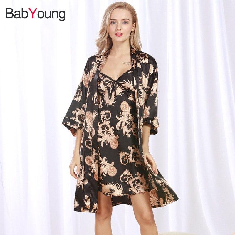 Nachthemd Zwei Stücke Pijamas Verpackung Der Nominierten Marke Damen-nachtwäsche Schneidig Babyoung Sexy Roben Sets Frauen Silk Satin Robe Bademantel Nachthemd Nachtwäsche Silk Kleid Bademantel