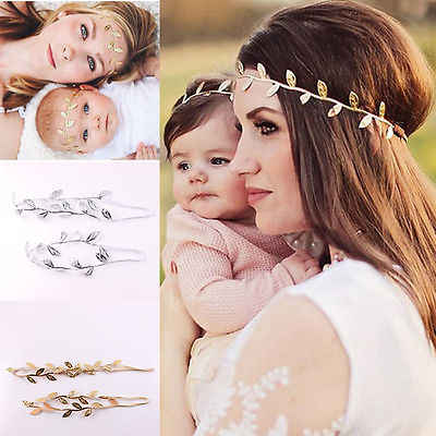 Mom and Me Leaf Headband Set Peace Olive branch Baby Girl Cute Leaves Hairband