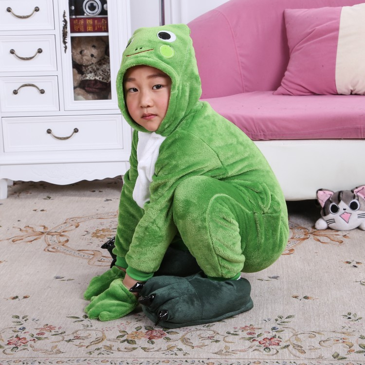Frog  Children Kids Flannel Animal Pajamas Anime Cartoon Costumes Sleepwear Cosplay Onesies