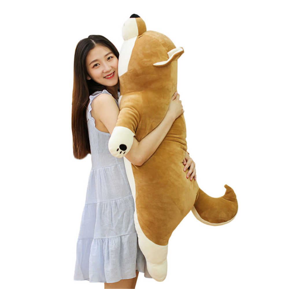 Fancytrader New 43'' Large Soft Anime Shiba Inu Plush Toy Stuffed Soft Lying Animal Akita Dog Doll 110cm Cartoon Pillow Present 43inch papa plush dog 110cm kawaii soft animal oversize dog cute pap stuffed pusher pillow doll porcelain toys bouquet doll