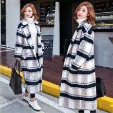 2016 New Europe United Woolen Cloth Fall Winter Jacket Coat Women  Han Edition Grid Cloth Coat More Loose Wool Woolen Cloth Coat
