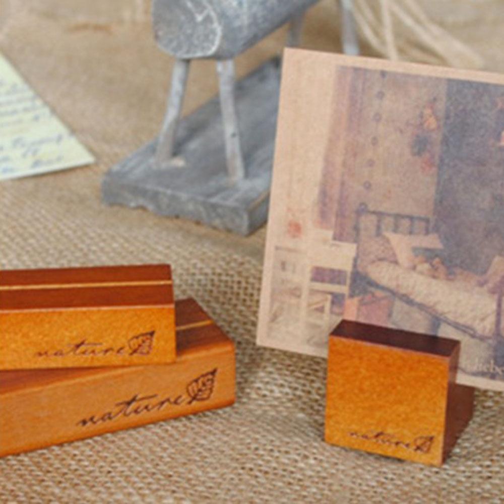2pcs Korea Stationery Wholesale Retro Original Wooden Message Holders Stands Notes Block Photo Card Message Folders Desks
