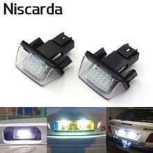 Niscarda 2 pcs Carro LEVOU Luzes Da Placa de Licença Livre de Erros para Citroen SAXO XSARA BERLINGO C2 Peugeot Partner 6000 k lâmpada branca