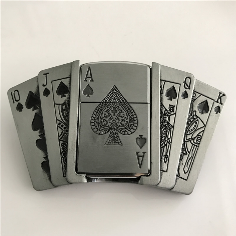 Guns Royal Flush Poker Cards Lighter Holder Metal Belt Buckle