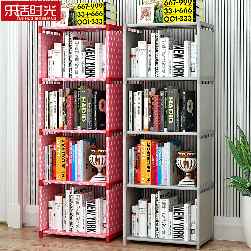 Simple Multi-layer Bookshelf Non-woven Fabric Easy to Assemble Iron Frame Display Shelf DIY Creative Home Decor Bookcase creative home zakka grocery shelf pastoral style trapezoidal miscellaneous succulents display