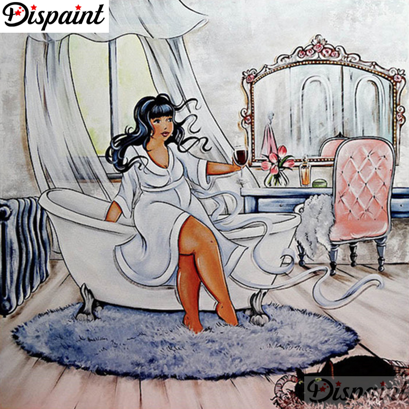 Dispaint plein carré/rond perceuse 5D bricolage diamant peinture Cartoon woman 3D broderie point de croix 3D décor à la maison A06332