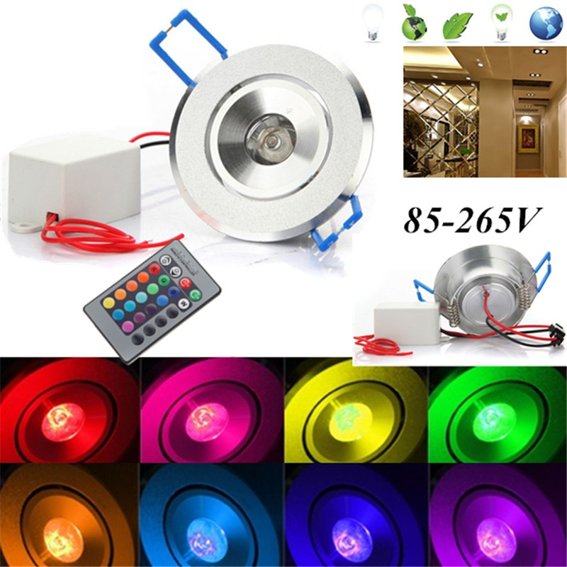 Multi-Colors 3W RGB LED Spot Lighting Ceiling Recessed Light Lamp Bulb with IR Remote Control AC 85-265V for Halls Bars or Home