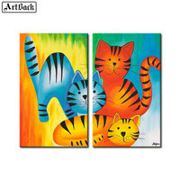 Color cat diamond painting three cat cartoon diy 5d full square drill 3d round diamond embroidery home decoration 2pcs set