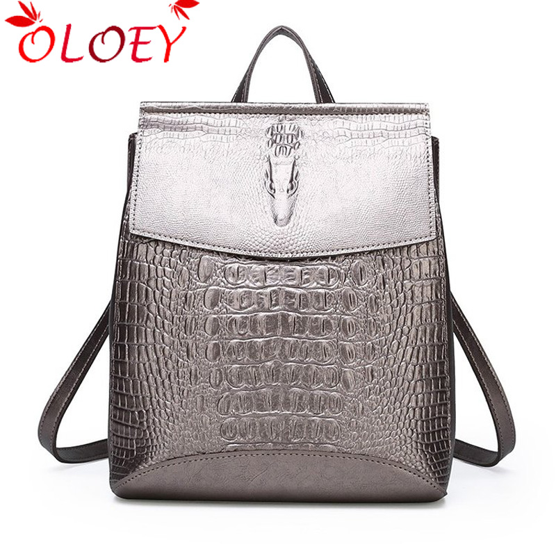 Backpack For Women 2019 Schoolbag Crocodile Leather Women's Backpacks Women School Bags For Teenage Girls Woman Backpack Sac A