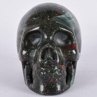 2476g Искусство Статуя череп натуральный кровь Камень человеческого головная фигурка минеральный кристалл ручной фэн шуй Исцеление Декор