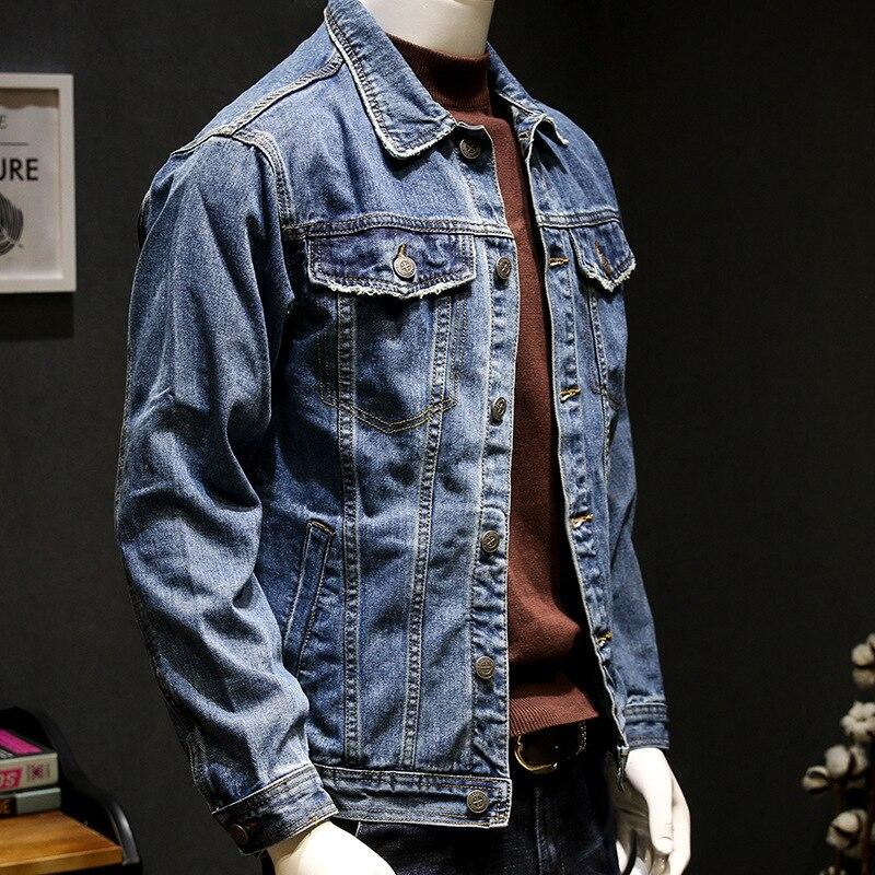 Ledingsen 2018 Для мужчин синие джинсы куртка мода Повседневное тощий Жан Куртки Для мужчин S Slim Fit уличной пальто с длинным рукавом jaquetas ...