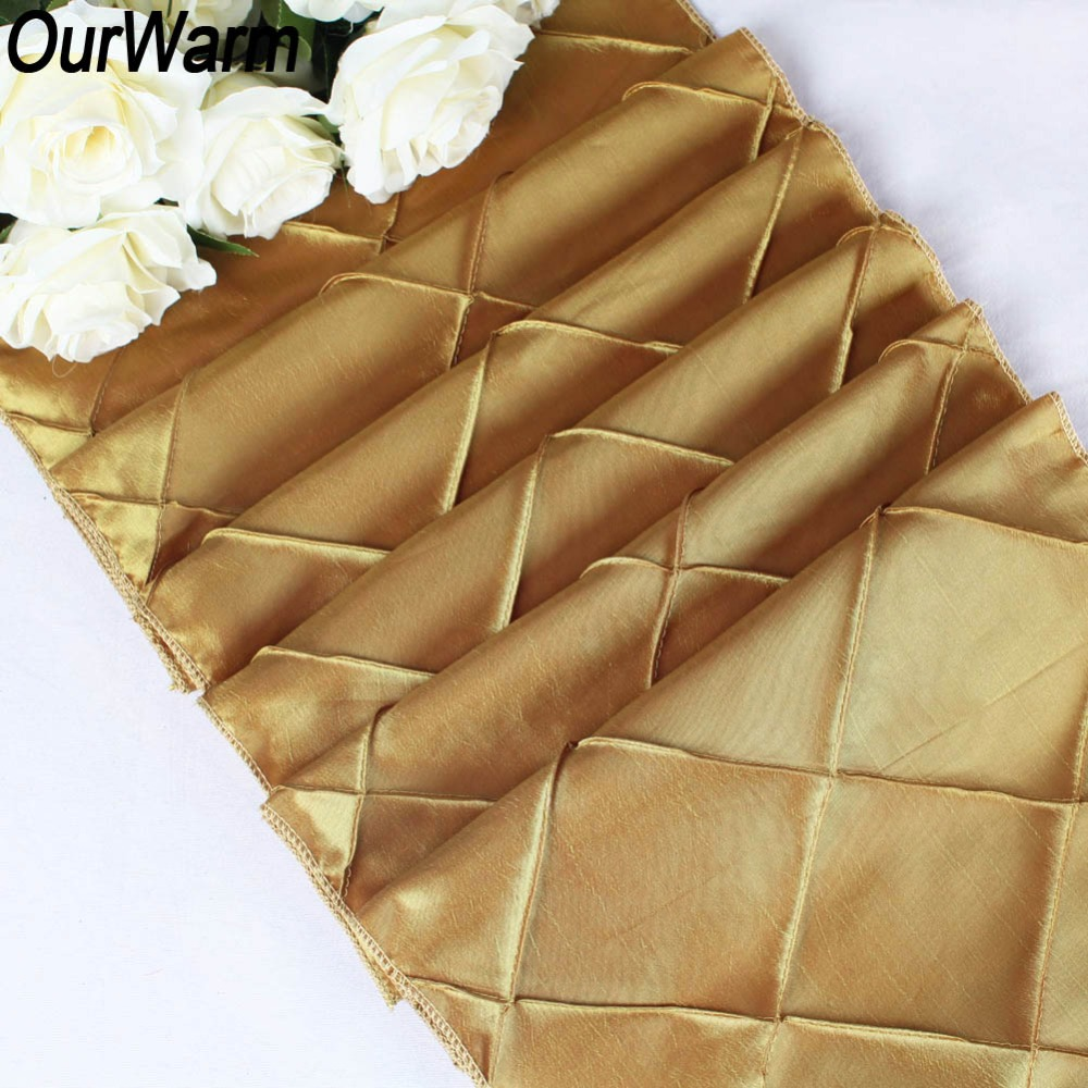 OurWarm High Quality Pintuck Table Runner Modern Satin Runners For Home Party Wedding Christmas Decoration 30cm x 275cm