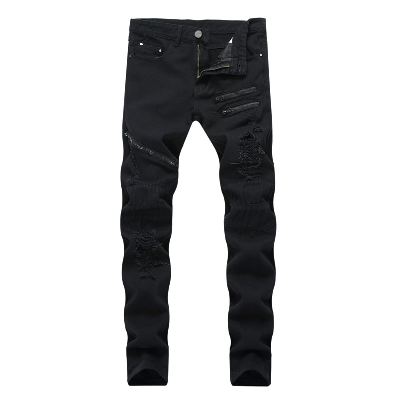 Newsosoo Fashion Hi Street Men Ripped Jeans Pants Streetwear Distressed Denim Trousers With Multi Zippers Plus Size 28-42 Black