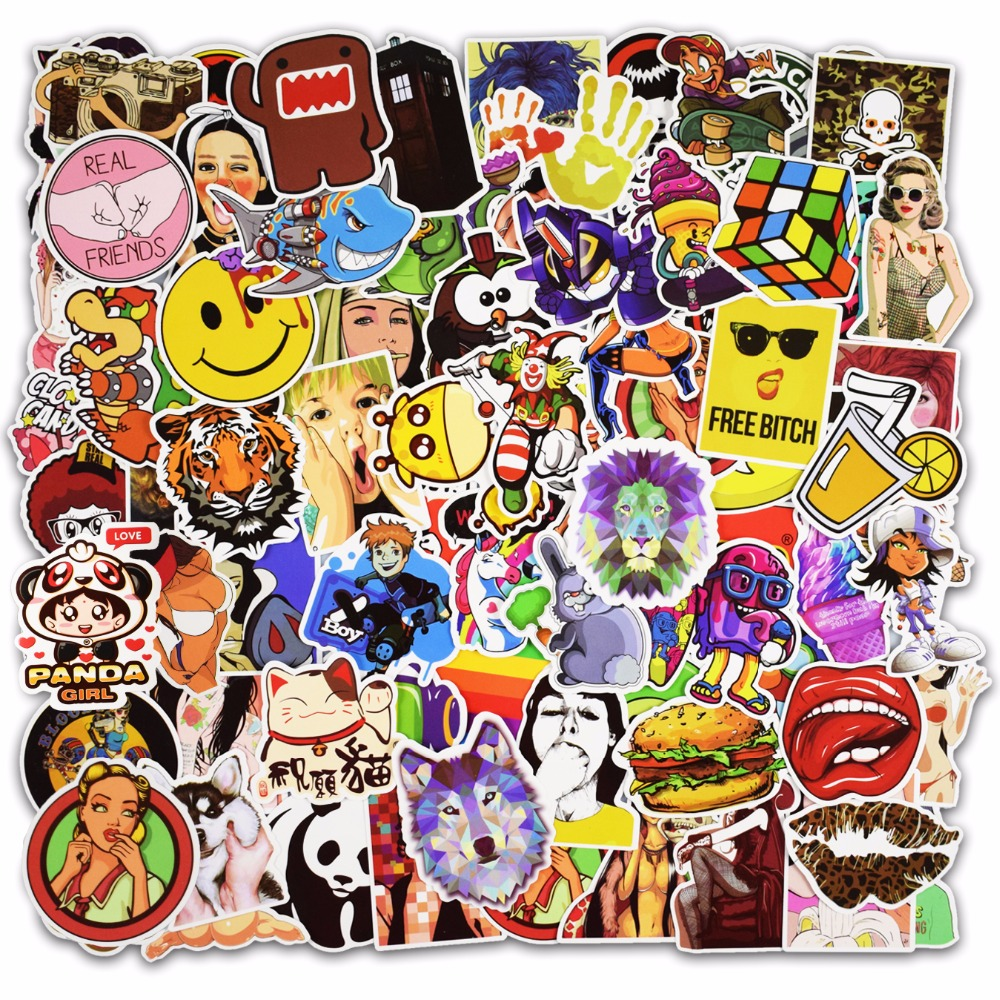 Hot Sale 100 Pcs Mixed Stickers for Luggage Laptop Decal Toys Bike Car Motorcycle Phone Snowboard Funny Doodle Cool DIY Sticker