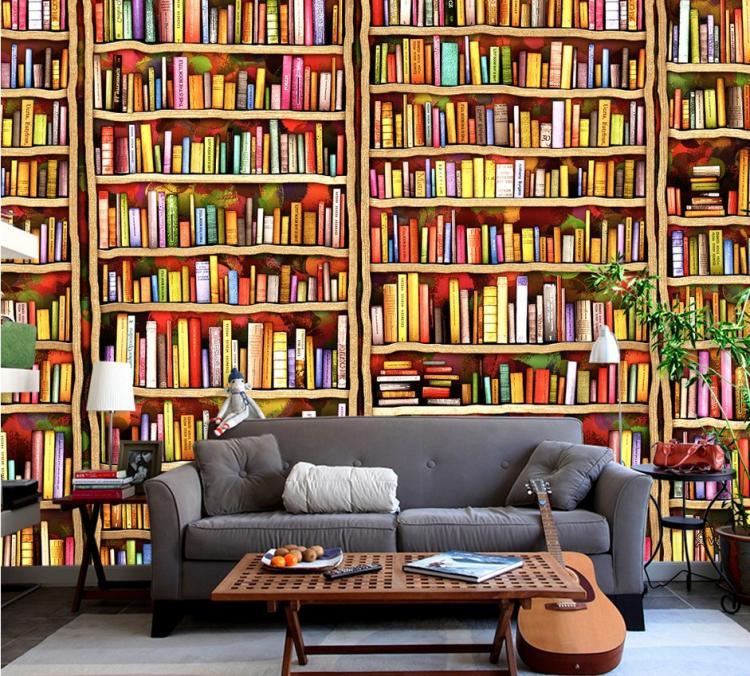 3d bookshop sofa mural bookroom living backdrop woven stereo european non tv wallpapers custom reads shelf