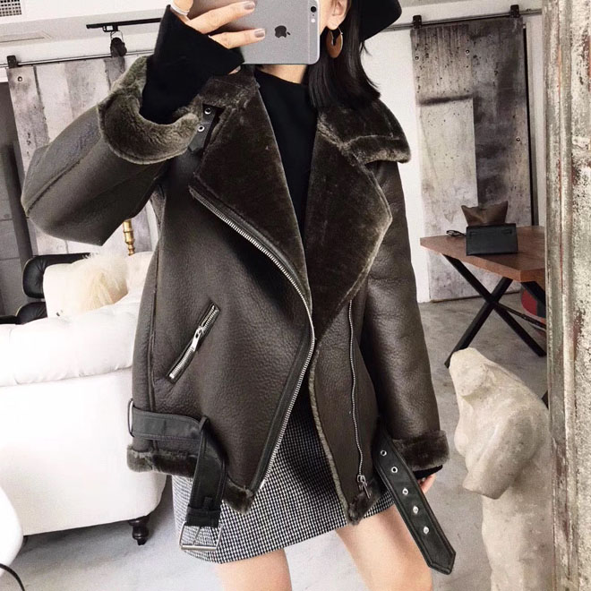 New Autumn Winter   Leather   Coats Women's Casual Loose Bikers Jacket Ladies Warm Lambs Wool Motorcycle Outerwear Female Black Coat