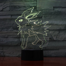 Pokemon Go Jolteon Figure LED Night Lamp for Child Birthday Gift Bedside Decorative Acrylic Laser 3d Led Light USB