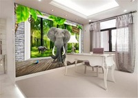Wholesale 3d Paper Wall 3D Oval Elephant Mural 3d Animal Wallpaper Interior Decoration Exquisite Moisture Practical Wallpaper