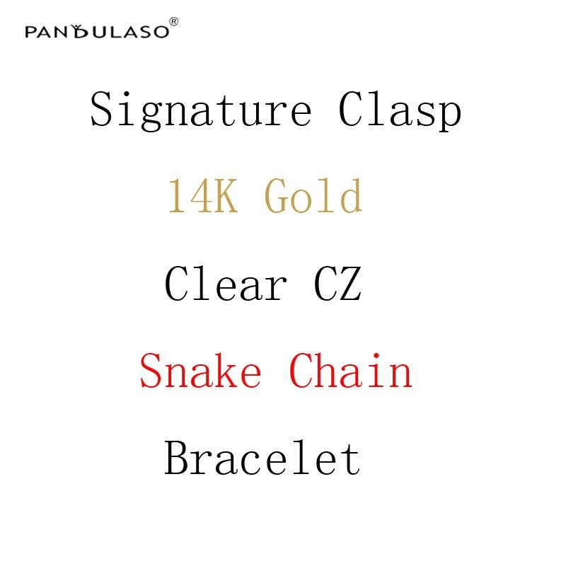 Pandulaso Firma Reale Dorato Chiaro CZ Chiusura Braccialetti Chain Del Serpente per Le Donne Originale Argento 925 Charms Bracciali Gioielli FAI DA TE