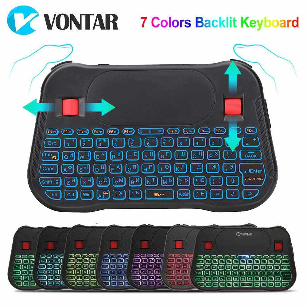 Air Mouse 2.4G Hz Wireless Mini Keyboard 7 Warna Backlit Bahasa Rusia Bahasa Inggris T18 Plus I8 + Touchpad Controller untuk Android TV Box PC