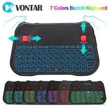 Air Maus 2,4 GHz Wireless mini tastatur 7 farben Backlit Russische Englisch T18 Plus i8 + Touchpad Controller Für Android TV BOX PC