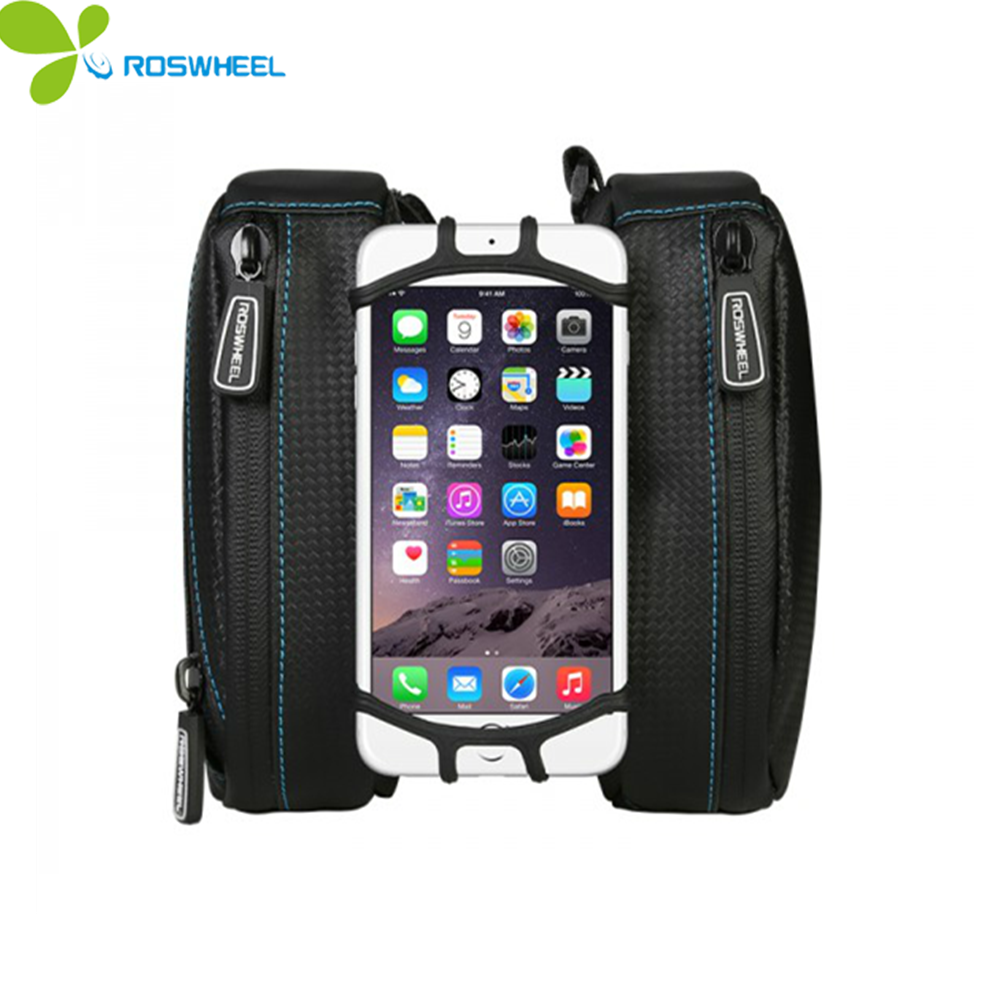 ROSWHEEL waterproof bike bag mobile 4-6.7 inch touch screen mobile phone bag carbon fiber PVC frame bag bike bicycle <font><b>accessories</b></font>