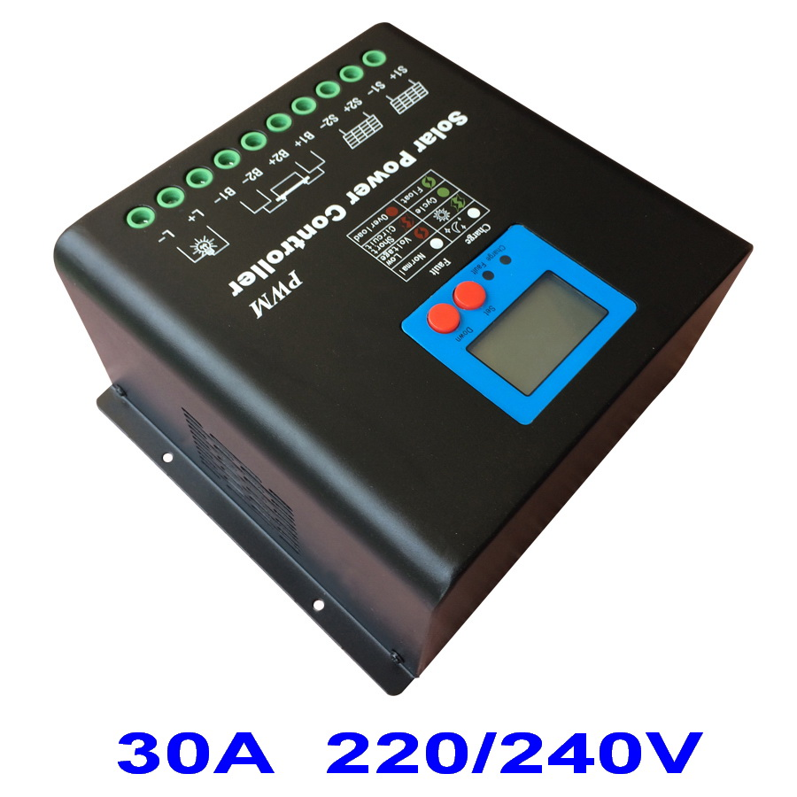 30A 220V or 240V Solar Charge Controller, High Voltage Battery Regulator 30A for 7200W PV Panels Modules, Dual-fan cooling high voltage 192v battery regulator 60a solar charge controller for 11520w pv panels modules dual fan cooling